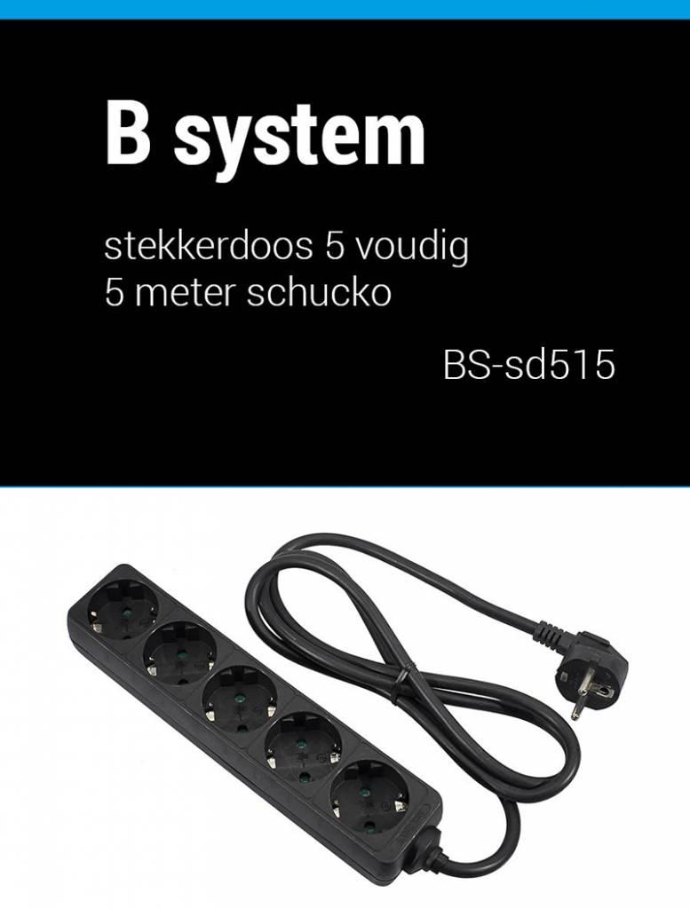 B System  Stekkerdoos 5 voudig voeding 1.5 meter BS-SD515
