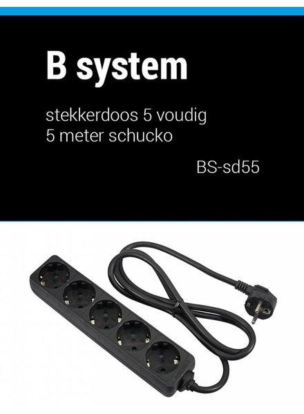 B System 5m Stekkerdoos 5 voudig voeding 5 meter BS-SD55