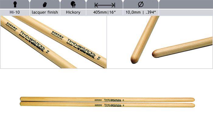 Rohema  Rhythm Sticks Hickory 61392/2 HI10 Sticks Timbales