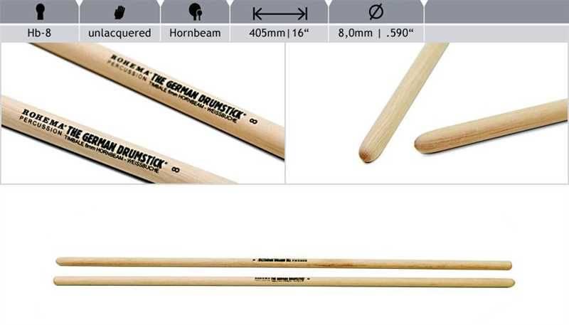 Rohema  Rhythm Sticks Buche 61391/1 HB8 Timbales Sticks