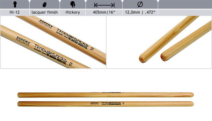 Rohema  Rhythm Sticks Hickory 61393/2 HALLO-12 Timbales Sticks