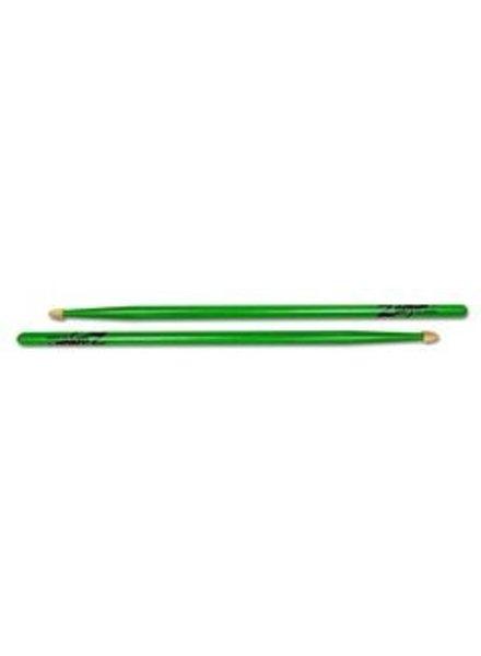 Zildjian 5ACWDGG Drumsticks, Hickory Wood Tip series, 5A Acorn, neon green