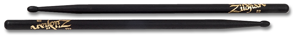 Zildjian  5BWB drumstokken 5B Hickory Wood Tip-serie ZI5BWB zwart