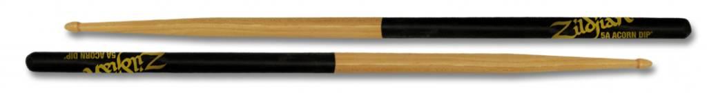 Zildjian  5ACD drumstokken 5A Acorn Hickory Houten tip, Zwart Dip-serie ZI5ACD
