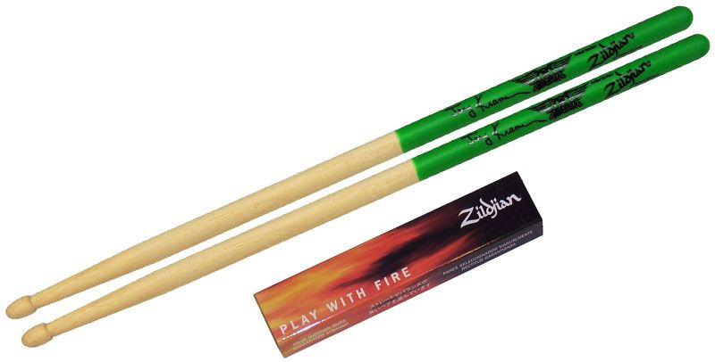 Zildjian  ASJKG drumstokken  Artist-serie, Joey Kramer, Houten tip, natuurkleur, groene dip ZIASJKG
