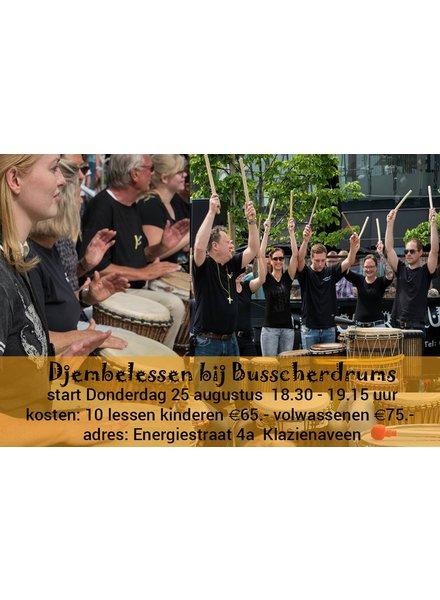 Busscherdrums djembe912 Djembe-les kinderen-jongeren Beginners <21 cursus 10 lessen
