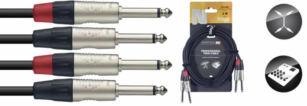 Stagg Kabel 2x Klinke - Klinke 3m