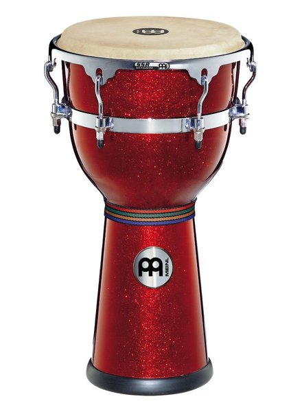 Meinl DJF3RSP fiber optic djembe, 12 inch red sparkle used model clearance