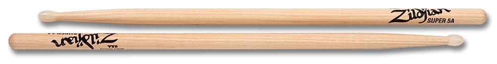 Zildjian  drumstokken Super 5A Hickory Nylon Tip-serie