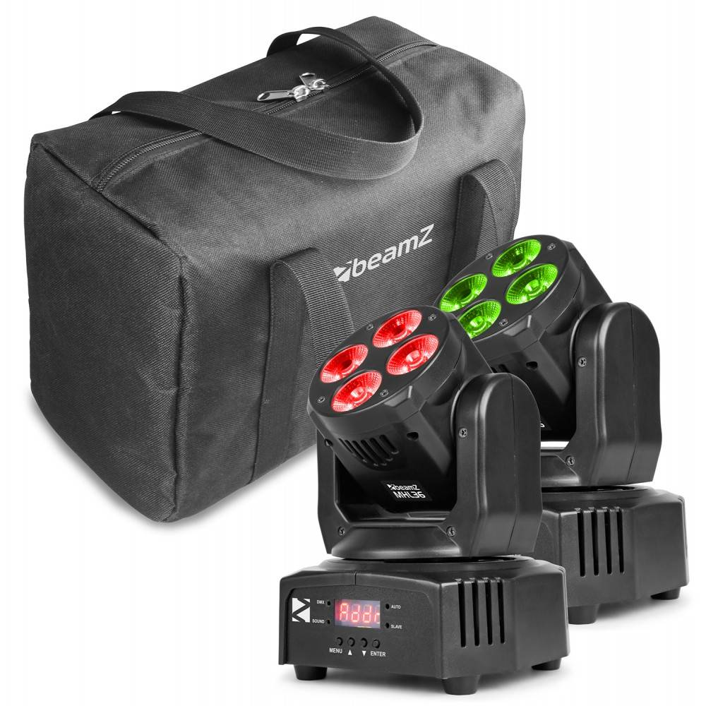Beamz MHL36 Moving head set of 2 in bag