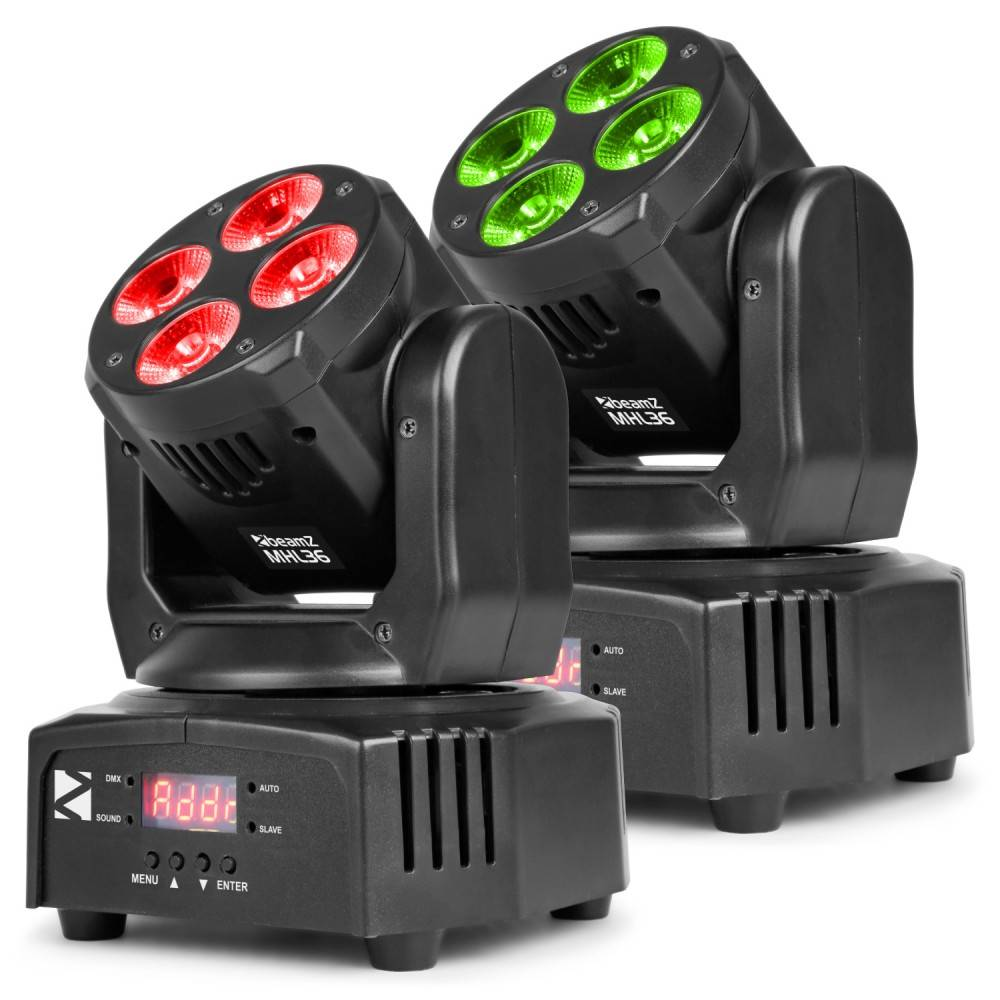 Beamz MHL36 Moving head set van 2 stuks in tas