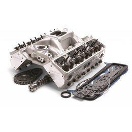 Edelbrock 435HP Total Power Package Top-End kit; includes cylinder heads, cam, intake manifold, head-bolts, intake bolts and complete gasket set.  For use on 1987 and later SB-Chevy with OE roller lifters