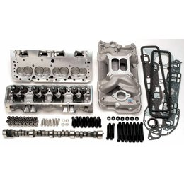 Edelbrock 410HP Total Power Package Top-End kit; includes cylinder heads, cam & lifters, intake manifold, head-bolts, intake bolts and complete gasket set.  For use on 1955 and later SB-Chevy