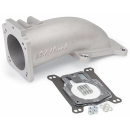 Edelbrock Ultra Low Profile Intake Elbow, 90mm Throttle Body to Square-Bore Flange; as-cast finish