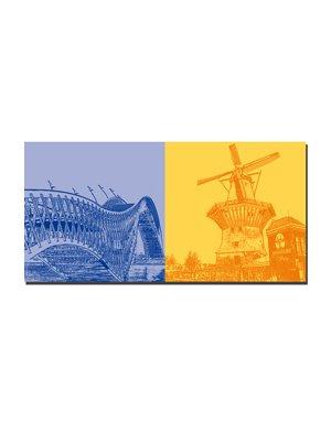 ART-DOMINO® by SABINE WELZ Amsterdam - Pythonbrug + Windmühle