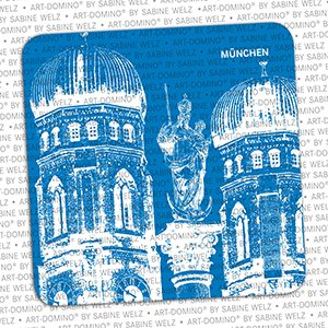 ART-DOMINO® by SABINE WELZ BEER COASTER - Munich - Frauenkirche