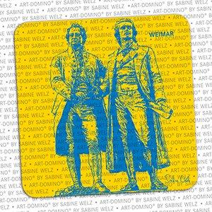 ART-DOMINO® by SABINE WELZ Bierdeckel-Weimar Goethe-Schiller-Denkmal