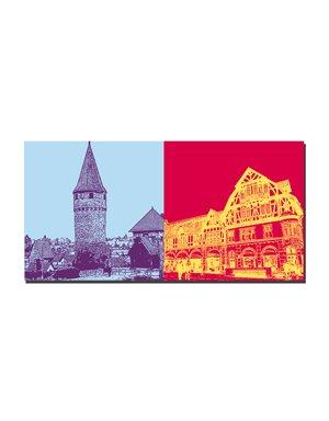 ART-DOMINO® by SABINE WELZ Bad Homburg - Ritter-von-Marx-Brücke + Altstadthäuser