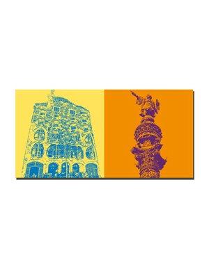 ART-DOMINO® by SABINE WELZ Barcelona - Casa Batllò + Columbus-Säule