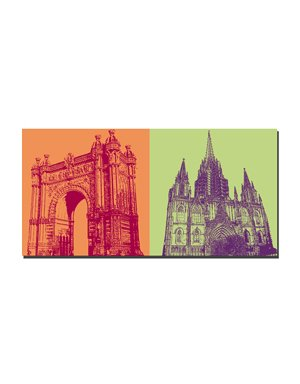 ART-DOMINO® by SABINE WELZ Barcelona - Arc de triomf + Catedrale