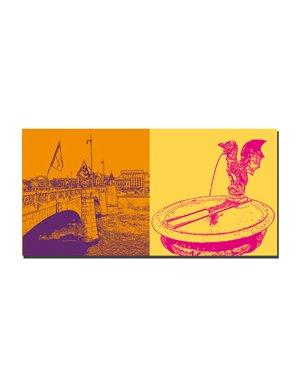 ART-DOMINO® by SABINE WELZ Basel - Mittlere Rheinbrücke + Basilisken Brunnen