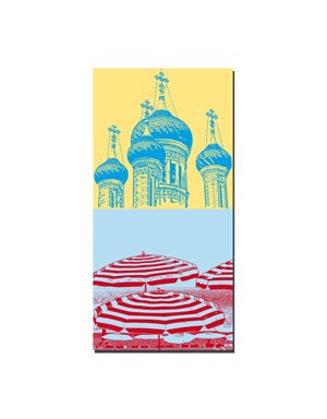 ART-DOMINO® by SABINE WELZ Nice - Russian Orthodox Saint-Nicolas Cathedral + parasols on the Promenade des Anglais