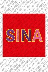 ART-DOMINO® by SABINE WELZ Sina – Magnet with the name Sina
