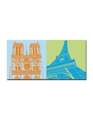 ART-DOMINO® by SABINE WELZ Paris - Notre Dame + Eiffelturm