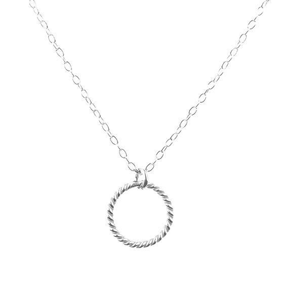 Halskette silber mit Anhänger in Form eines verdrehten Ringes