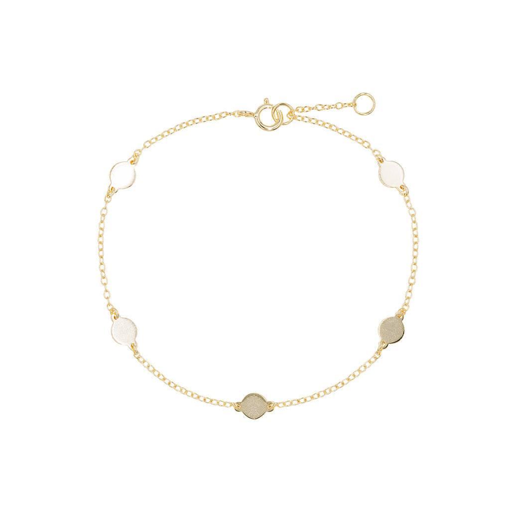 Armband aus vergoldetem Silber mit 5 Plättchen
