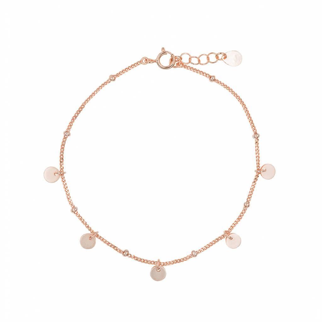 Armband aus  rosé vergoldetem Silber mit 5 glänzenden, hängenden Plättchen