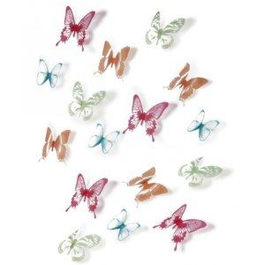 Umbra Chrysalis Muurdecoratie Vlinder 16 stuks - Gekleurd