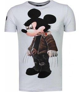 Local Fanatic Bad Mouse Rhinestone T-shirt Wit
