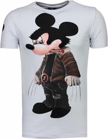 Local Fanatic - Bad Mouse Rhinestone T-shirt Wit