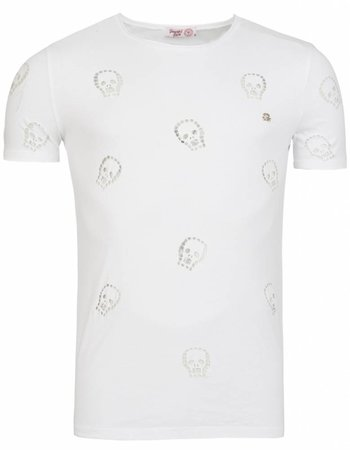 Young & Rich - Tunica T-shirt Skull Wit