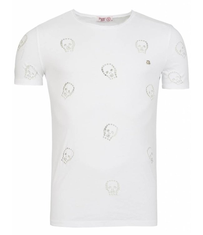 Young & Rich Tunica T-shirt Skull Wit