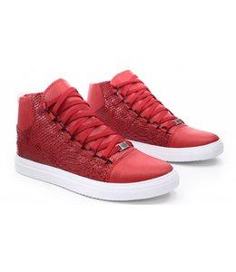 Manzotti Hoge Heren Sneaker Rood Croko Print