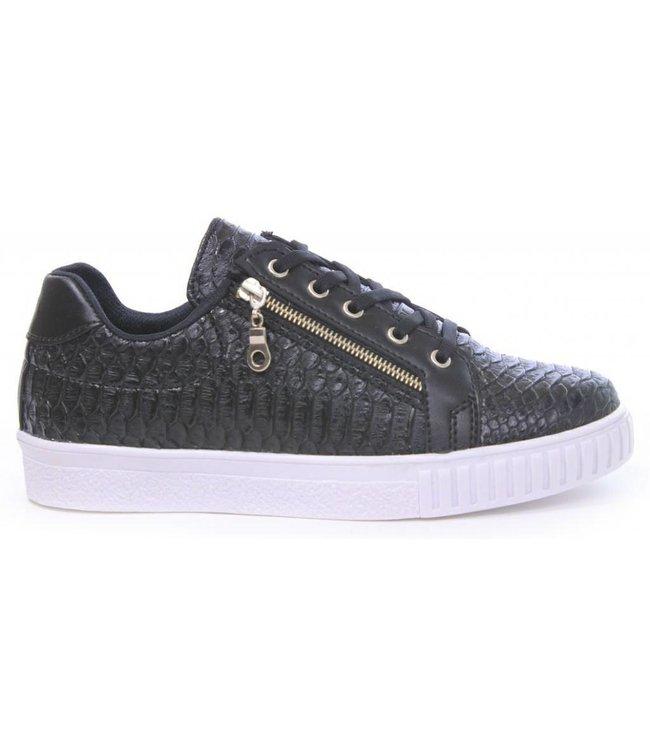 Manzotti Gioaccino Lage Crocodile Sneaker Zwart