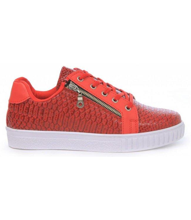 Manzotti Gioaccino Lage Crocodile Sneaker Rood