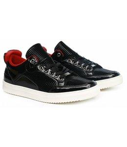 Manzotti Carrano Lage Nette Leren Sneakers Black