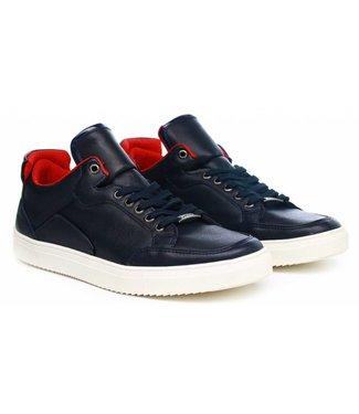 Manzotti Carrano Lage Nette Leren Sneakers Navy