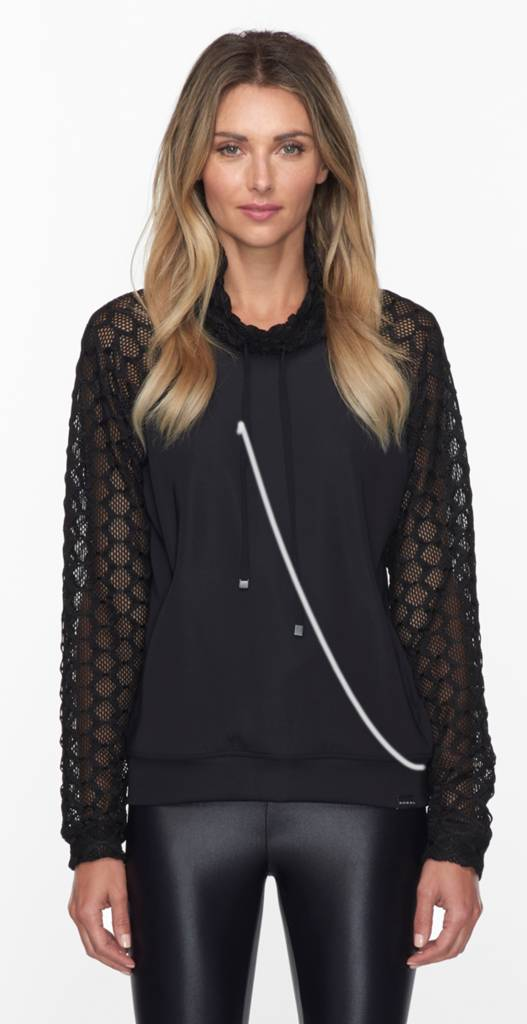 Koral Activewear Funnel Pullover Black with mesh sleeves