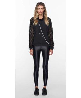 Koral Activewear Funnel Pullover Black - zwart chique hoodie met mesh mouwen