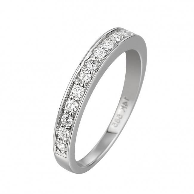 14 krt goud huiscollectie GA835 WG Diamanten, witgouden ring. 12 x 0,36crt