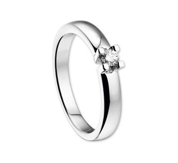 14 krt Goud Collectie Witgouden ring solitair diamant