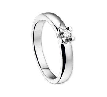 14 krt goud huiscollectie Witgouden ring solitair diamant