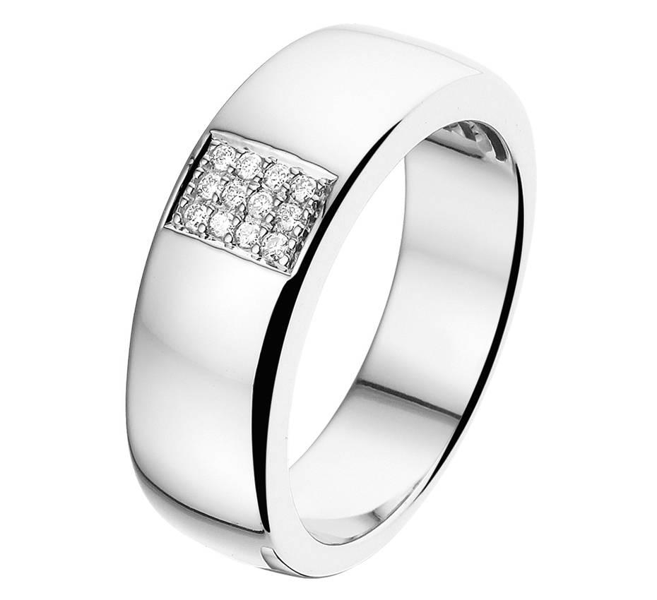 14 krt goud huiscollectie Wit gouden diamanten ring