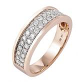 14 krt goud huiscollectie 14 krt Rose gouden ring met 34 briljanten