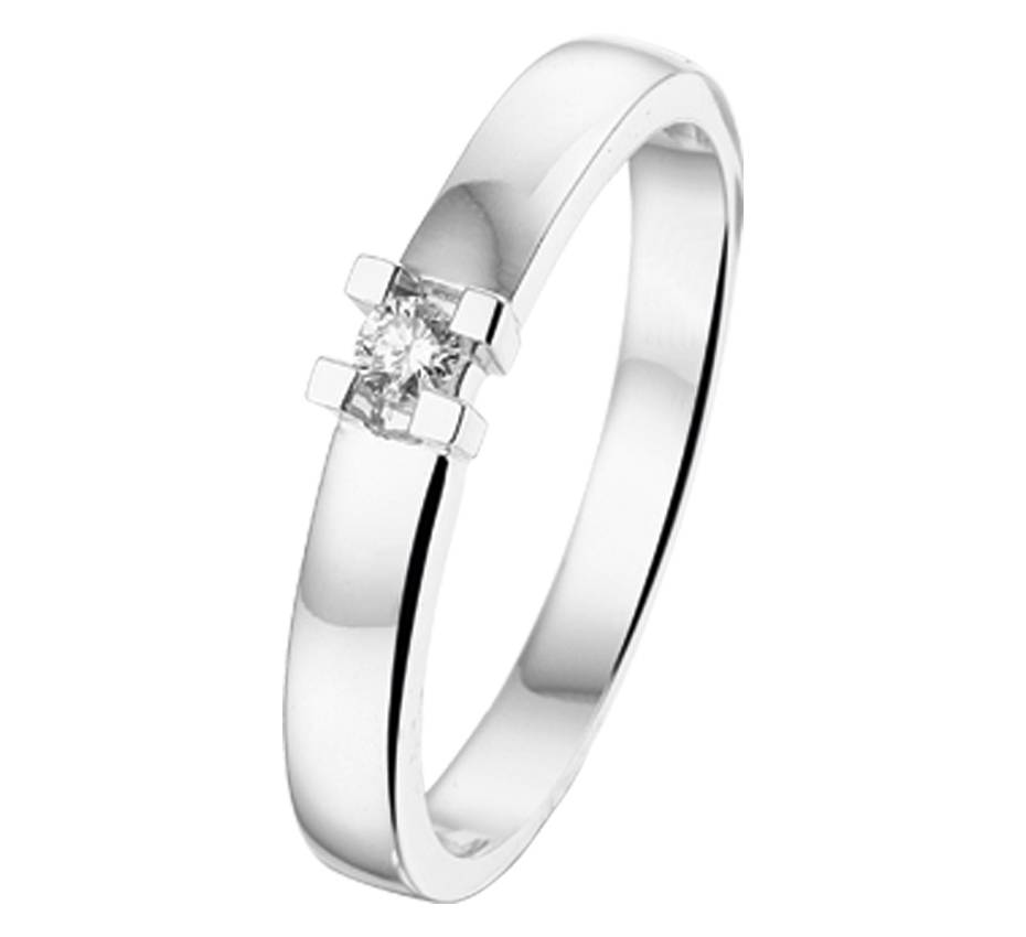 14 krt Goud Collectie Diamant solitair witgouden ring.