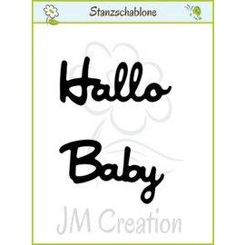 """Puncionar e gravação em relevo modelos: texto alemão: """"Olá"""" e """"Baby"""""""